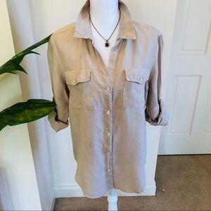 Tommy Bahama Linen Tan button down SM
